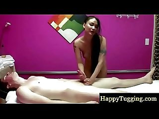 Asian masseur makes her client cum